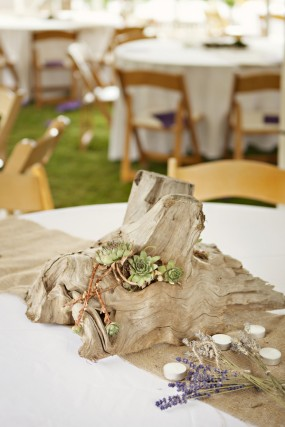 outdoor-diy-wedding-wood-and-succulent-centerpiece