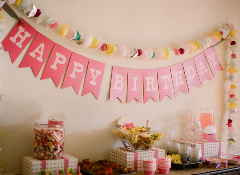 Pink diy cupcake birthday party for Bday decoration