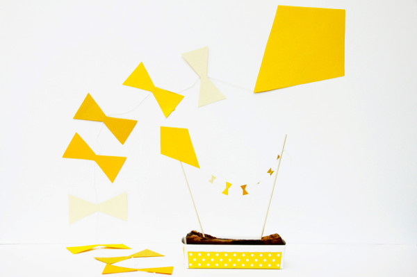 DIY Yellow Kite Garland and Cake Topper