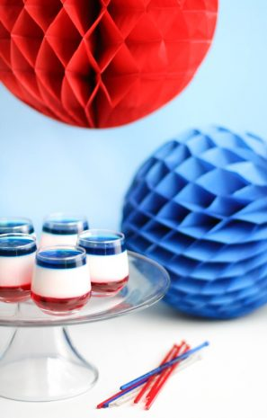 Red White and Blue Panna Cotta Shooters for Fourth of July