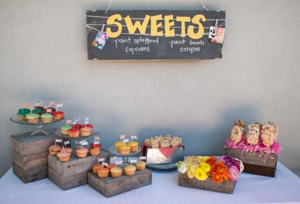 diy-paint-splattered-cupcakes-dessert-table