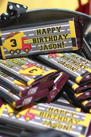 Construction Birthday Party Chocolate Bar Favors