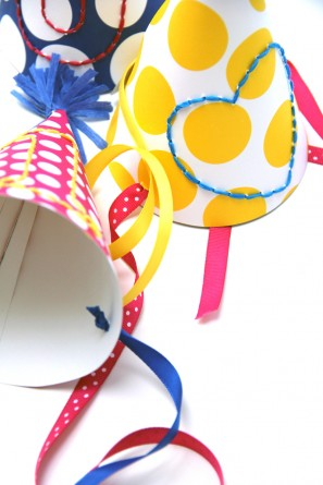 DIY Embroidered Birthday Party Hats