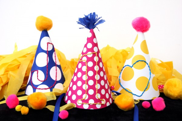 DIY Embroidered Party Hats Tutorial
