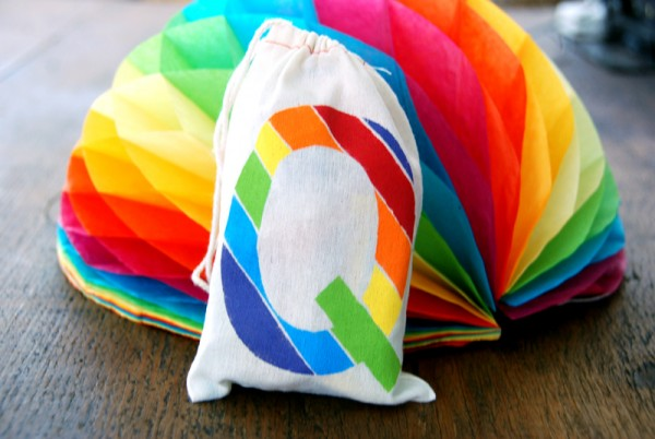 DIY Rainbow Freezer Stencil Monogram Favor Bags