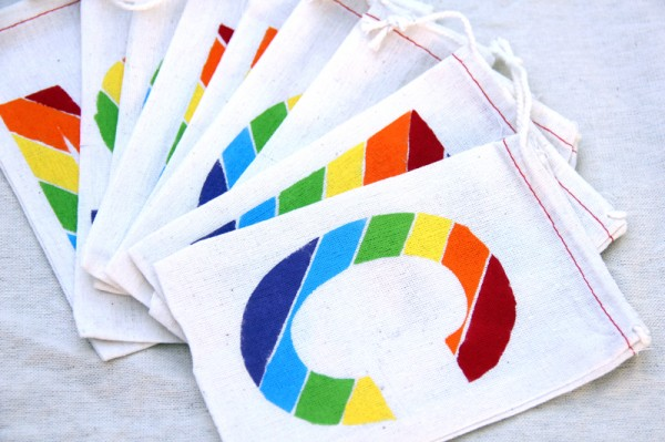 DIY Rainbow Monogram Favor Bags