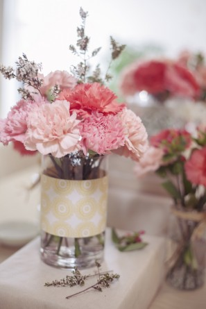 Simple Pink Carnation Centerpieces