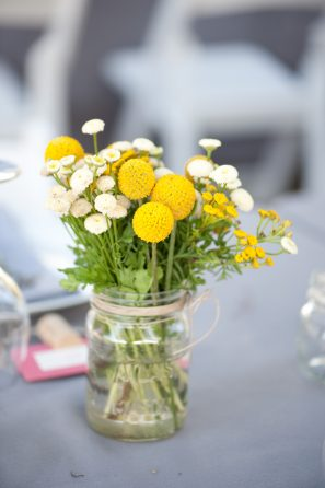 Yellow Mason Jar Centerpieces