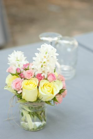Yellow and Pink Mason Jar Centerpieces