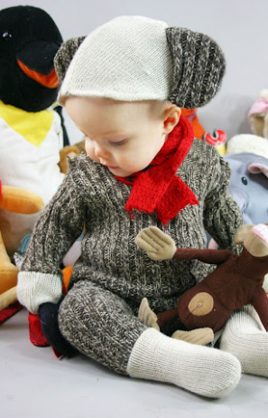 DIY Sock Monkey Baby Costume