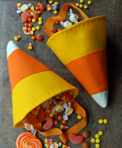 DIY Candy Corn Treat Bags for Halloween