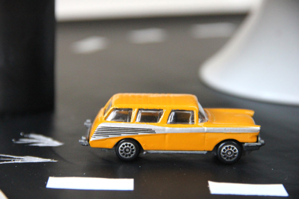 Vintage Car Tablescape with Toy Cars
