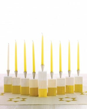 DIY Color Blocked Wooden Menorah