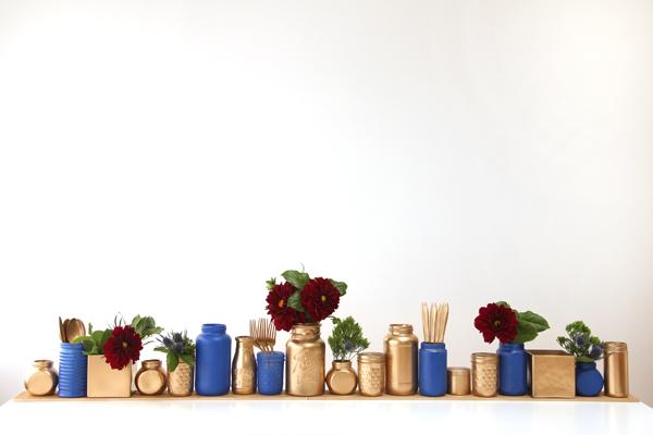 DIY Gilded Glass Jar Holiday Centerpiece