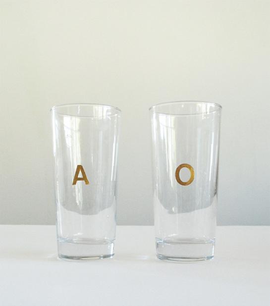 DIY Gilded Monogram Glasses