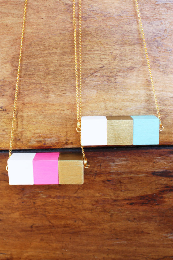DIY Wooden Block Necklace