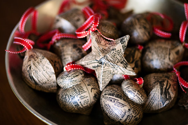 Newspaper Christmas Ornaments by Tuck and Bonte