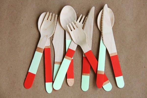 DIY Color Block Wooden Cutlery