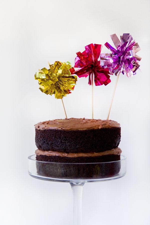 DIY Fringe Mylar Cake Topper