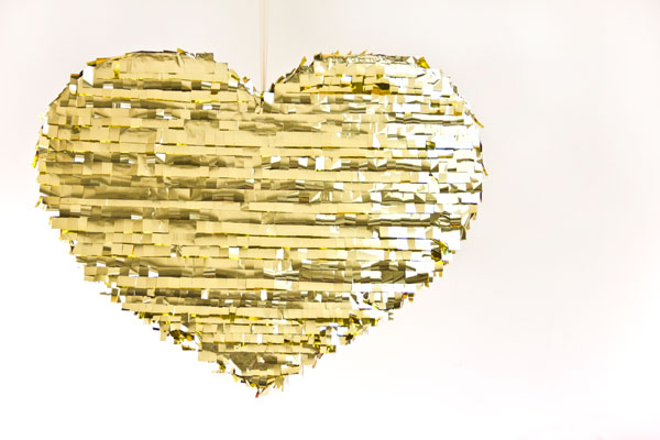 DIY Gold Heart Pinata