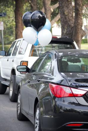 Birthday Balloons on a Car