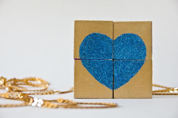 DIY Glitter Block Puzzle Valentine