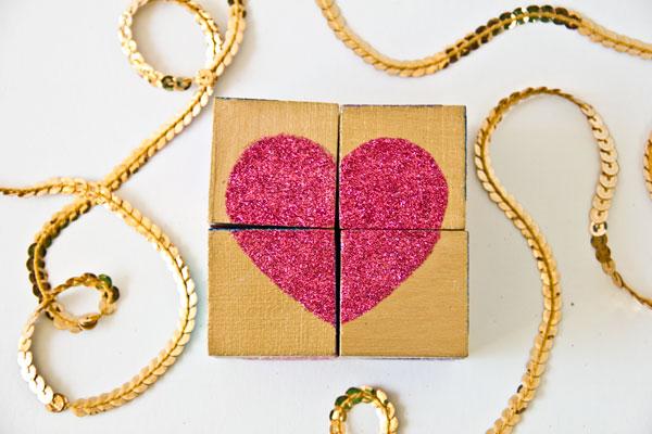 DIY Glitter Block Puzzle Valentines