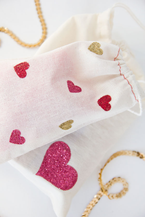 DIY Glitter Heart Bags for Valentines