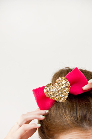 DIY Sequin Heart Bows