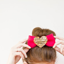 DIY Sequin Heart Hair Bows