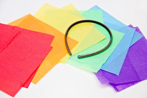 DIY Rainbow Fascinator Supplies