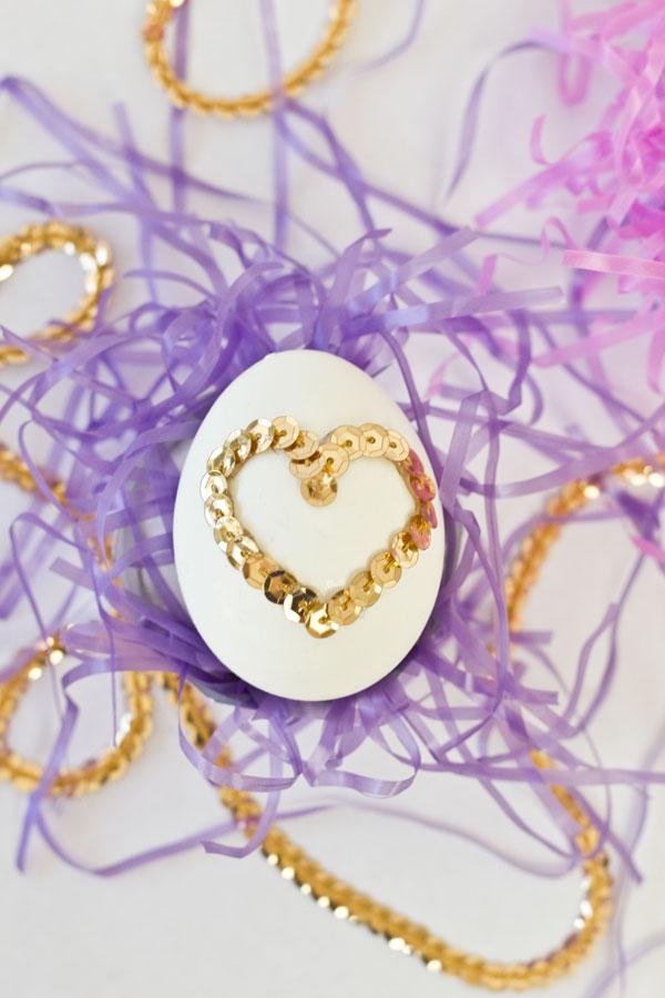 DIY Sequin Heart Easter Eggs