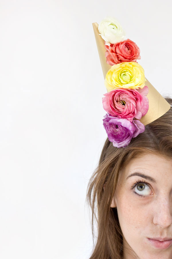 DIY Fresh Flower Party Hats