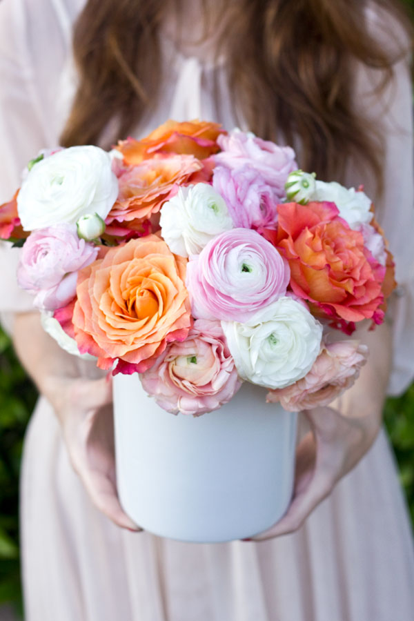 Ranunculus and Garden Rose Bouquet