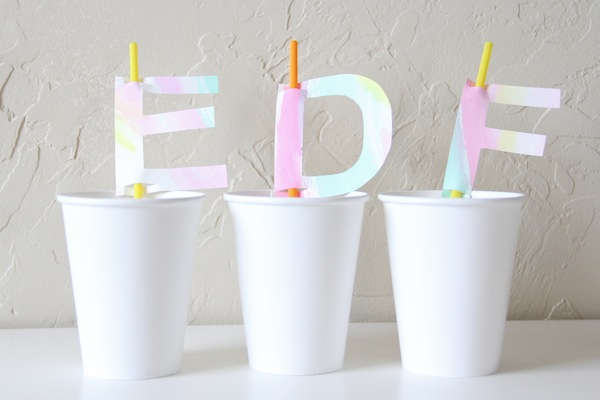 How To Make Watercolor Monogram Straw Toppers