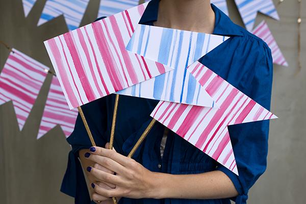 DIY Watercolor Stripe Flags