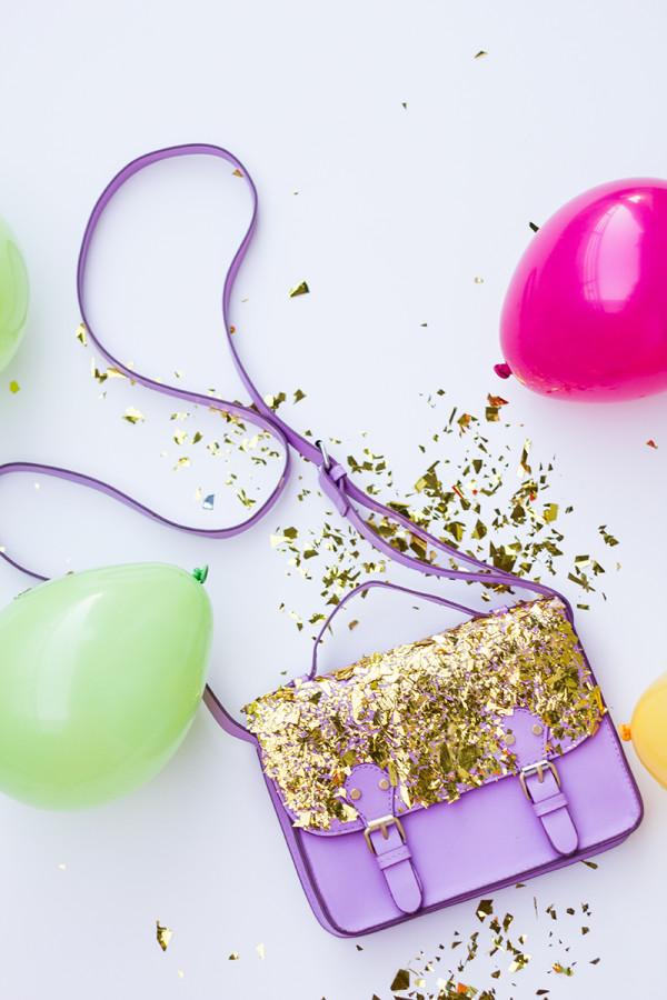 DIY Confetti Dipped Bag