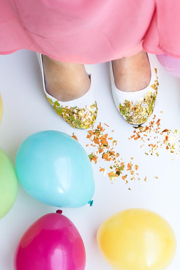 DIY Confetti Dipped Flats