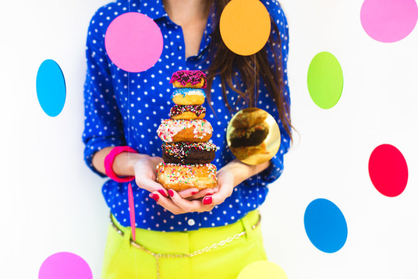 DIY Giant Confetti Backdrop and Donuts