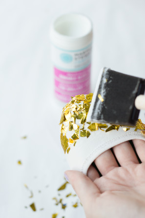 DIY Gold Confetti DIpped Shoes