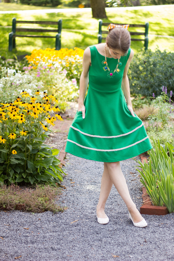 Green Dress and a Colorful Necklace