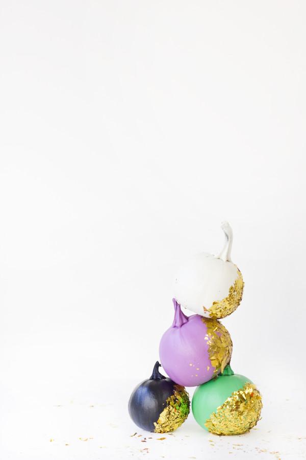 DIY Confetti Dipped Pumpkins