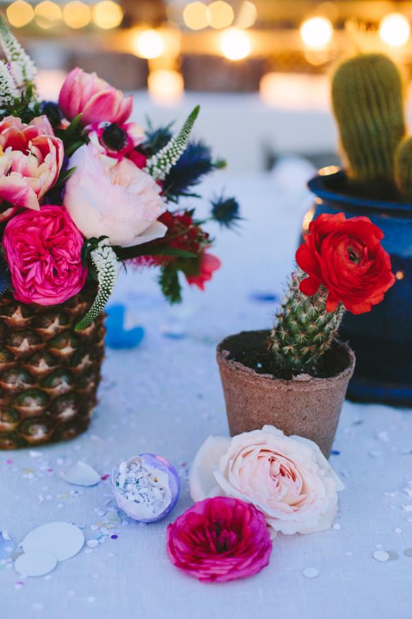 Pineapple Vase and Mini Cacti