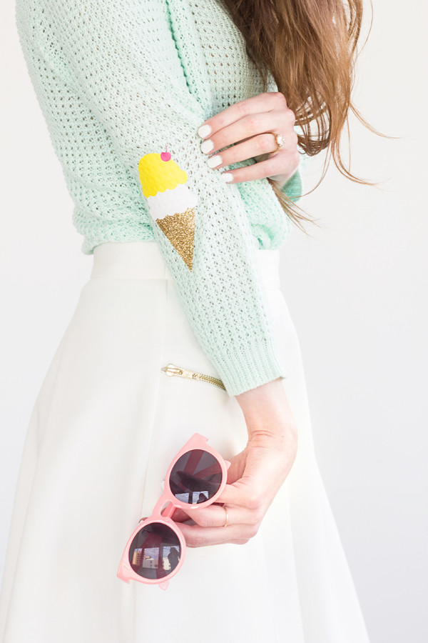 DIY Ice Cream Cone Elbow Patches