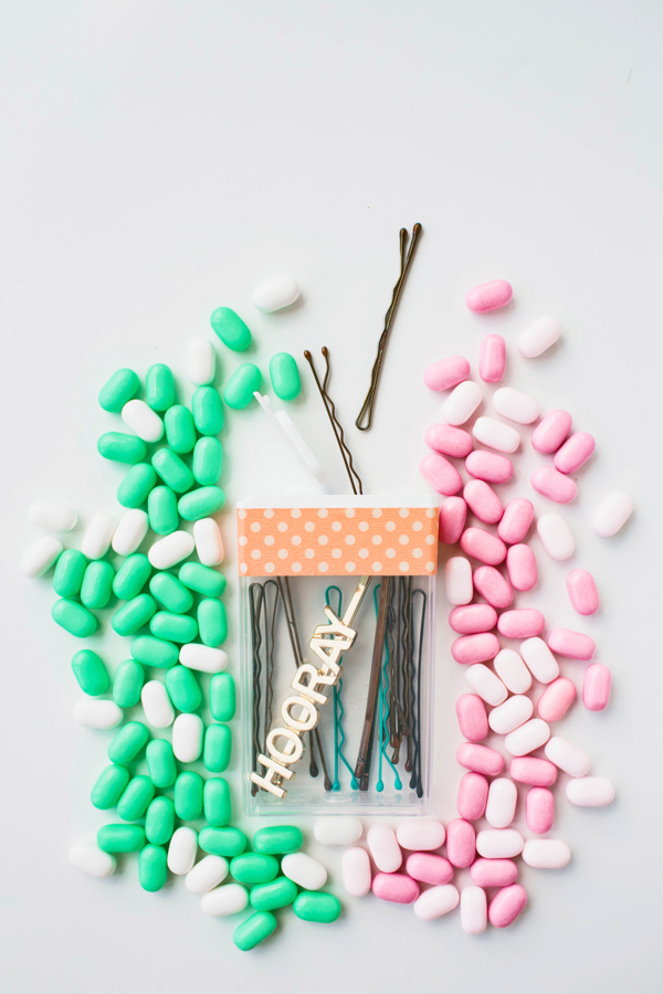 Turn a Tic Tac case into a bobbi pin holder!