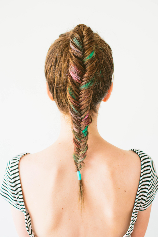 DIY Colorful Fishtail Braid with Hair Chalk