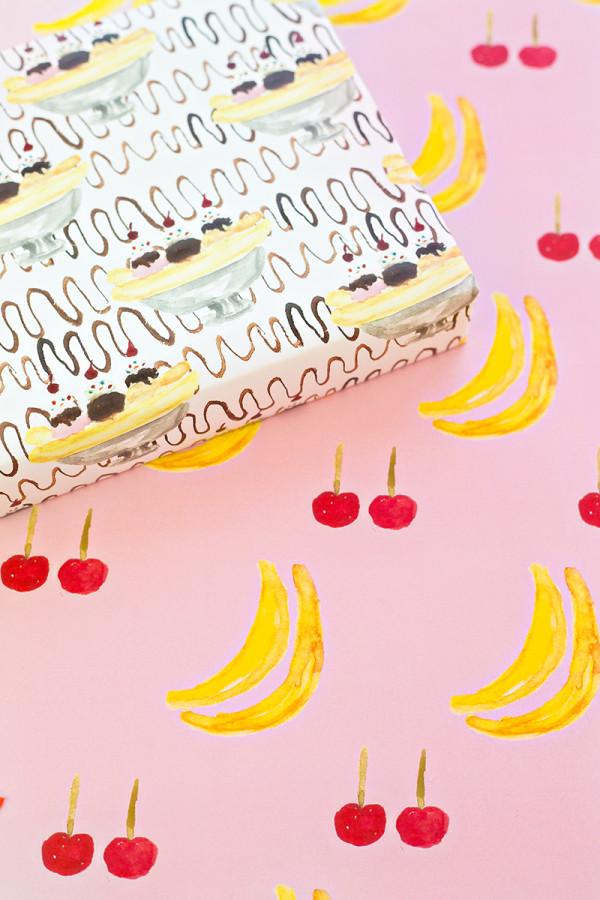 Free Printable Banana Split Wrapping Paper