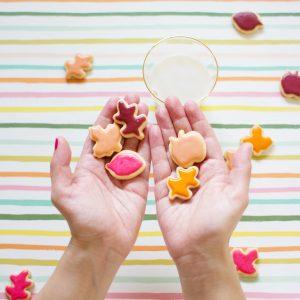Let's Eat!   Mini Colorful Leaf Cookies