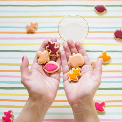 Let's Eat! | Mini Colorful Leaf Cookies