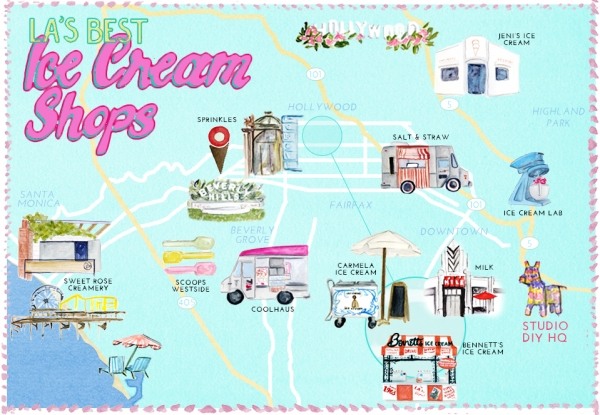 Best Ice Cream in Los Angeles Map